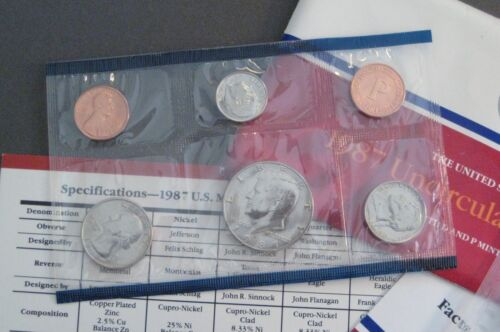 1987 United States Mint Uncirculated Coin Set S944 *Free Shipping* 10 Coins