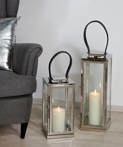 laterne windlicht casablanca aus edelstahl silber deko design ebay. Black Bedroom Furniture Sets. Home Design Ideas