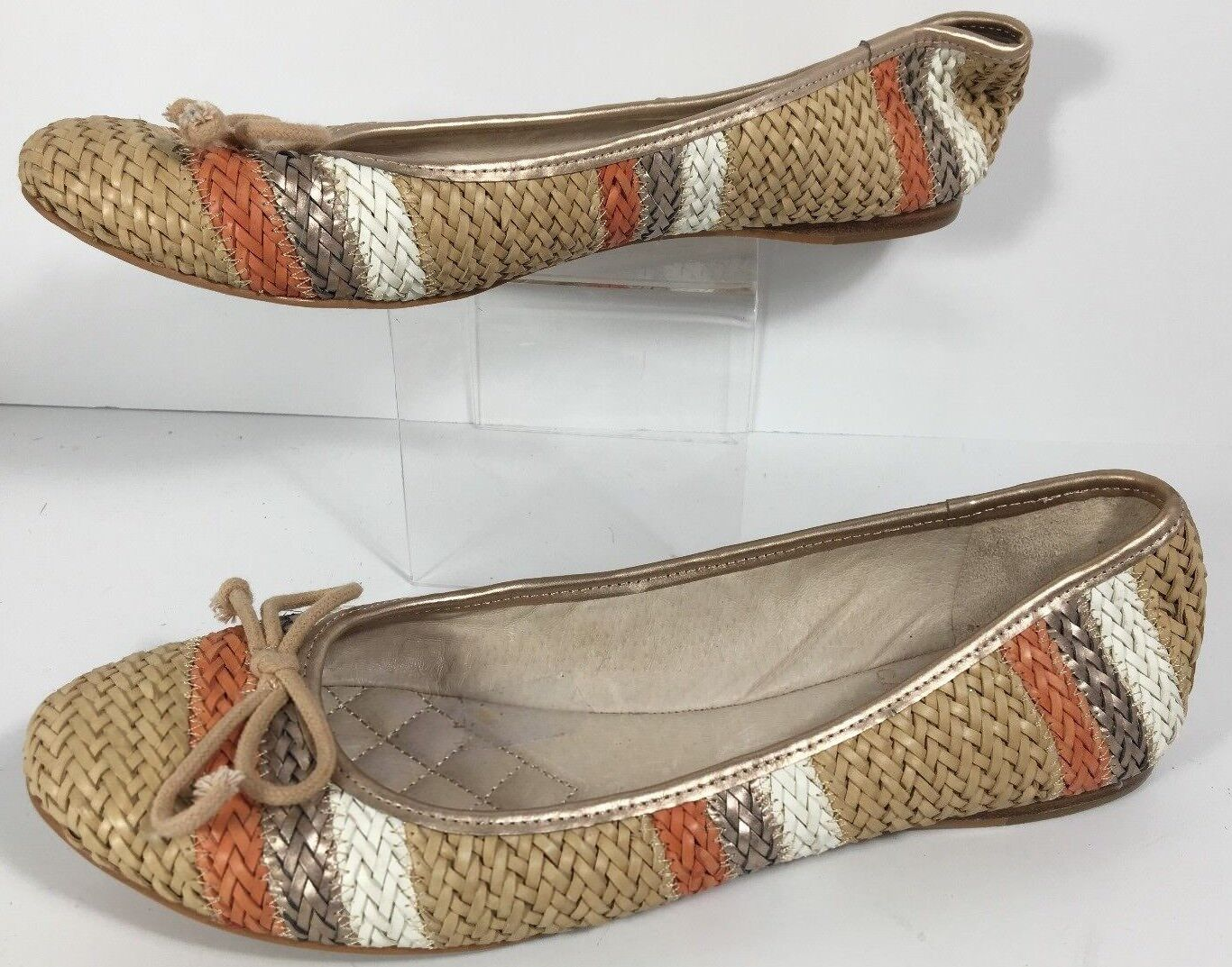 Vintage Vince Camuto Striped Basket Weave Flats Size 10 M Leather Lining