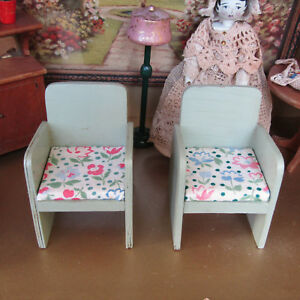 Details About Antique 20s Dollhouse Green Chair Lot Wood Armchair Living Room Furniture 1920s
