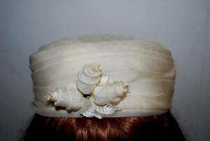 Vintage-Ivory-Cream-Pillbox-Hat-Roses-Sheer-Pleats-Seed-Pearls-1950s