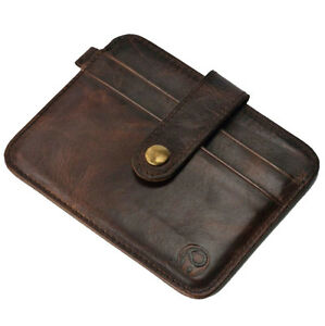 Vintage Men PU Leather Money Clip Wallet ID Credit Card Holder Case Bag 4 Types