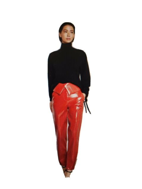 BCBG MAXAZRIA Faux Leather Peplum Pants XS Ventian Red Retro 80s $248
