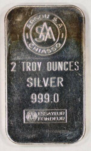 CHIASSO 2 OZ BAR .999 FINE SILVER ARGOR S.A