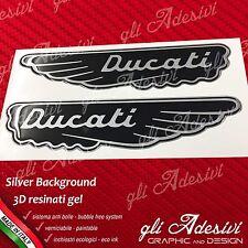 2 Adesivi Resinati Sticker 3D DUCATI ALA Nero e Argento 15 cm