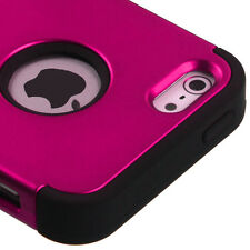 iPhone SE / 5S - Hot Pink Hybrid Armor Dual Layer Hard & Soft Rubber Case Cover
