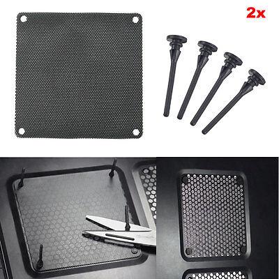 2x Computer Case Fan Dustproof Dust Filter + Silicone Shock Fan Screws 80-140mm