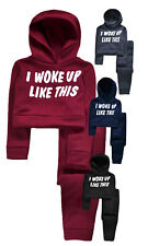 Girls Tracksuit New Kids Crop Hoodie And Joggers Slogan Set Ages 2 - 13 Years