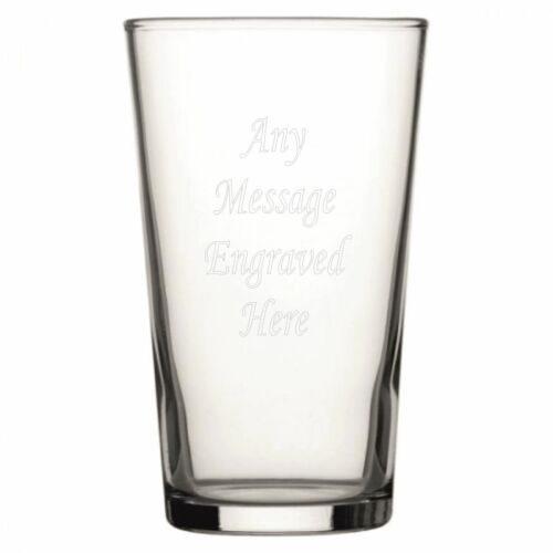 Personalised Conical Pint Glass Engraved With Any Message