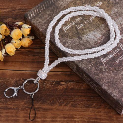Key Ring Lanyard Phone Holder Pearl Crystal Neck Strap Massager Bling Portable
