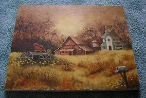 AMERICANA-VINTAGE-SEPIA-FARM-HOUSE-PLANTATION-HORSE-CARRIAGE-MAILBOX-PAINTING