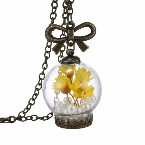 Chic Real Dried Flower Glass Bow Pearl Choker Statement Bib Ball Bottle Necklace