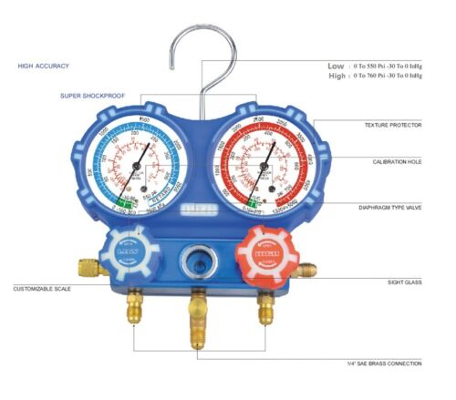 "2 VALVE AL manifold with 36"" 800psi hoses & 80mm gauges For R410A"