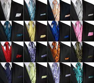 Men-039-s-Paisley-Tuxedo-Vest-Tie-and-Hankie-Formal-Dress-Wedding-Prom-Cruise