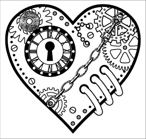 Steampunk Heart Small Unmounted Rubber Stamp