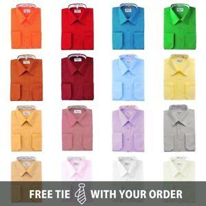 Berlioni-Italy-Men-039-s-Convertible-Cuff-Solid-Dress-Shirts