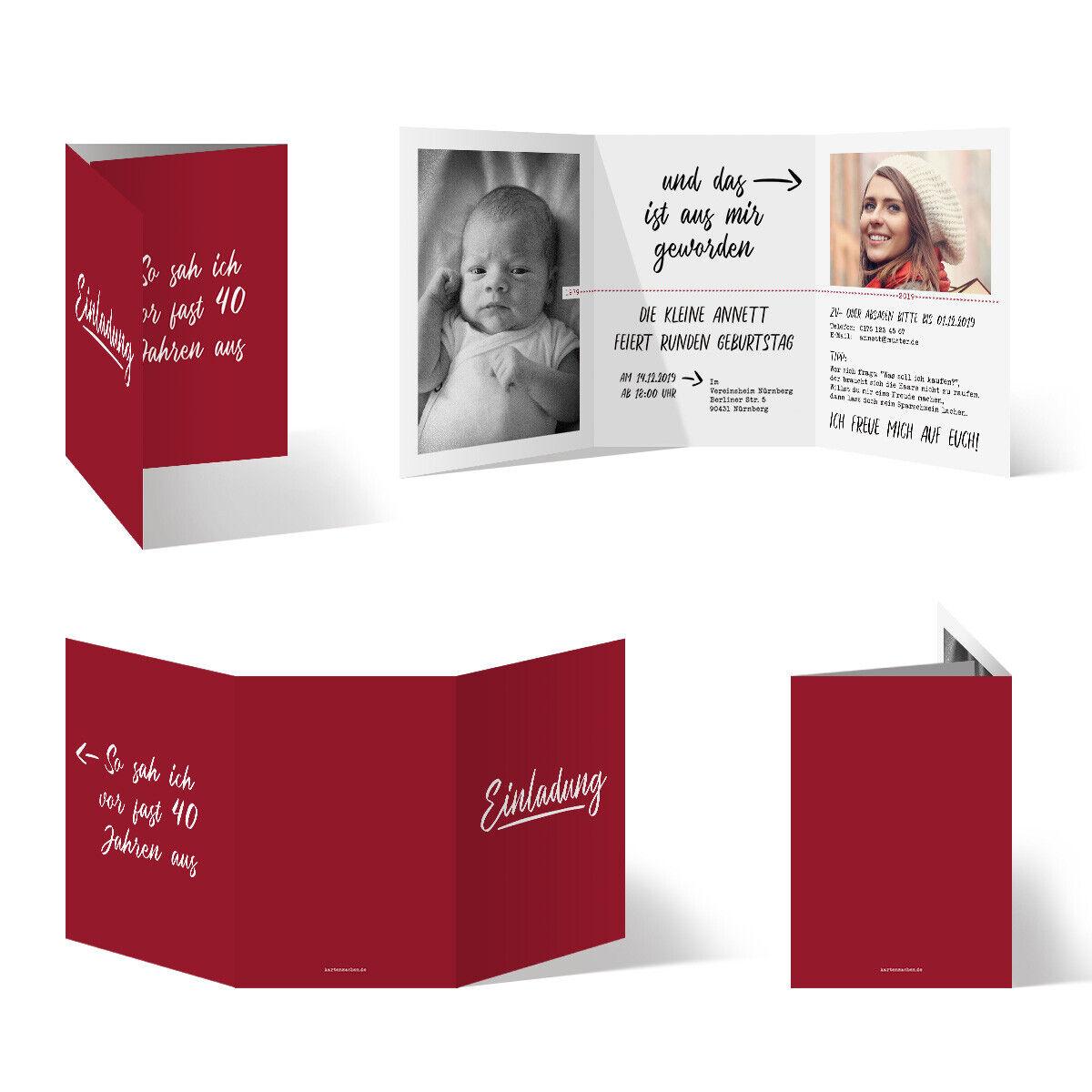 Runder 40. Geburtstag individuelle Einladungskarten Einladungen damals und heute   | Merkwürdige Form  | Flagship-Store