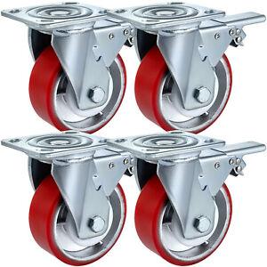 5-034-x-2-034-Polyurethane-Swivel-Caster-With-Dual-Locking-Heavy-Duty-Rigid-Fixed