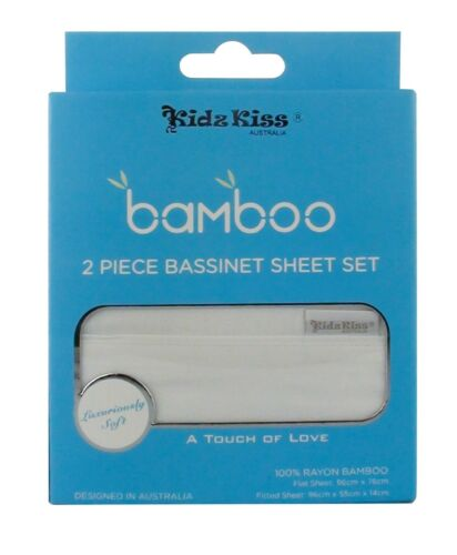 Cradle Sheet Set Silky Soft Kidz Kiss Bamboo 2 Piece Bassinet Lightweight