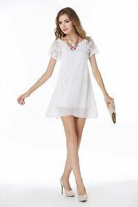 1d912eef4cea7 Details about Women's Casual Lace Short Sleeve Mini Dress Party Evening  Dresses