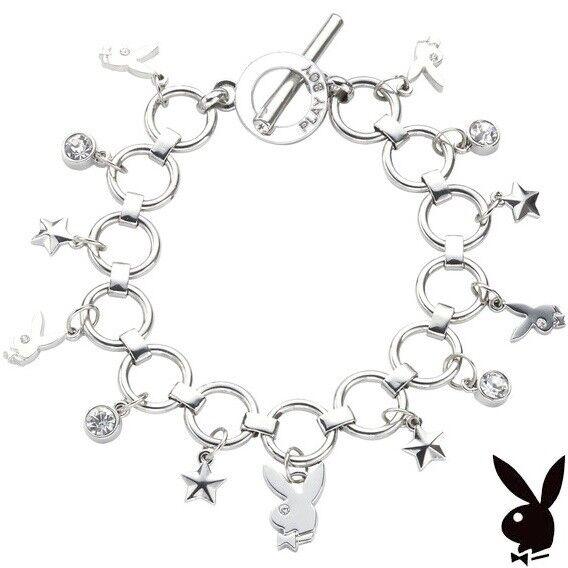 Playboy Charm Bracelet Silver Crystal Bunny Star Toggle Gem CZ GRADUATION GRAD