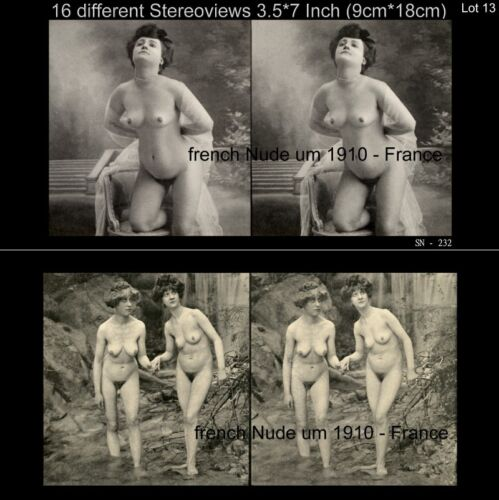 16 artful Stereoviews french Nude 1910 France Paris Lot 13