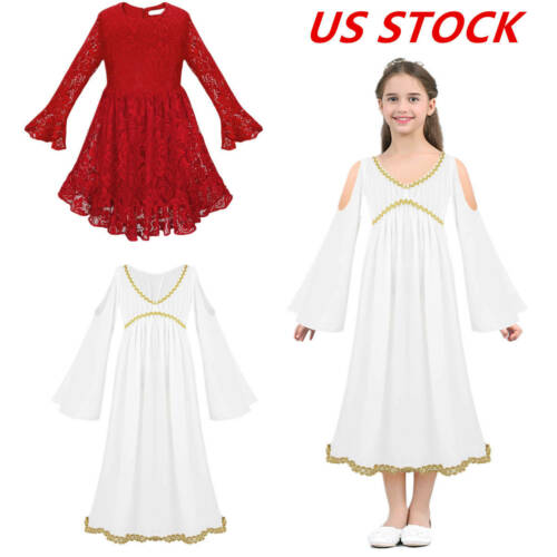 US Girl Halloween Party Dress Princess Pageant Wedding Long Sleeves Prom Costume
