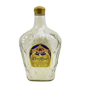 Rare-Crown-Royal-Canadian-Whiskey-Three-Liter-Empty-Glass-Bottle-With-Cap-3L