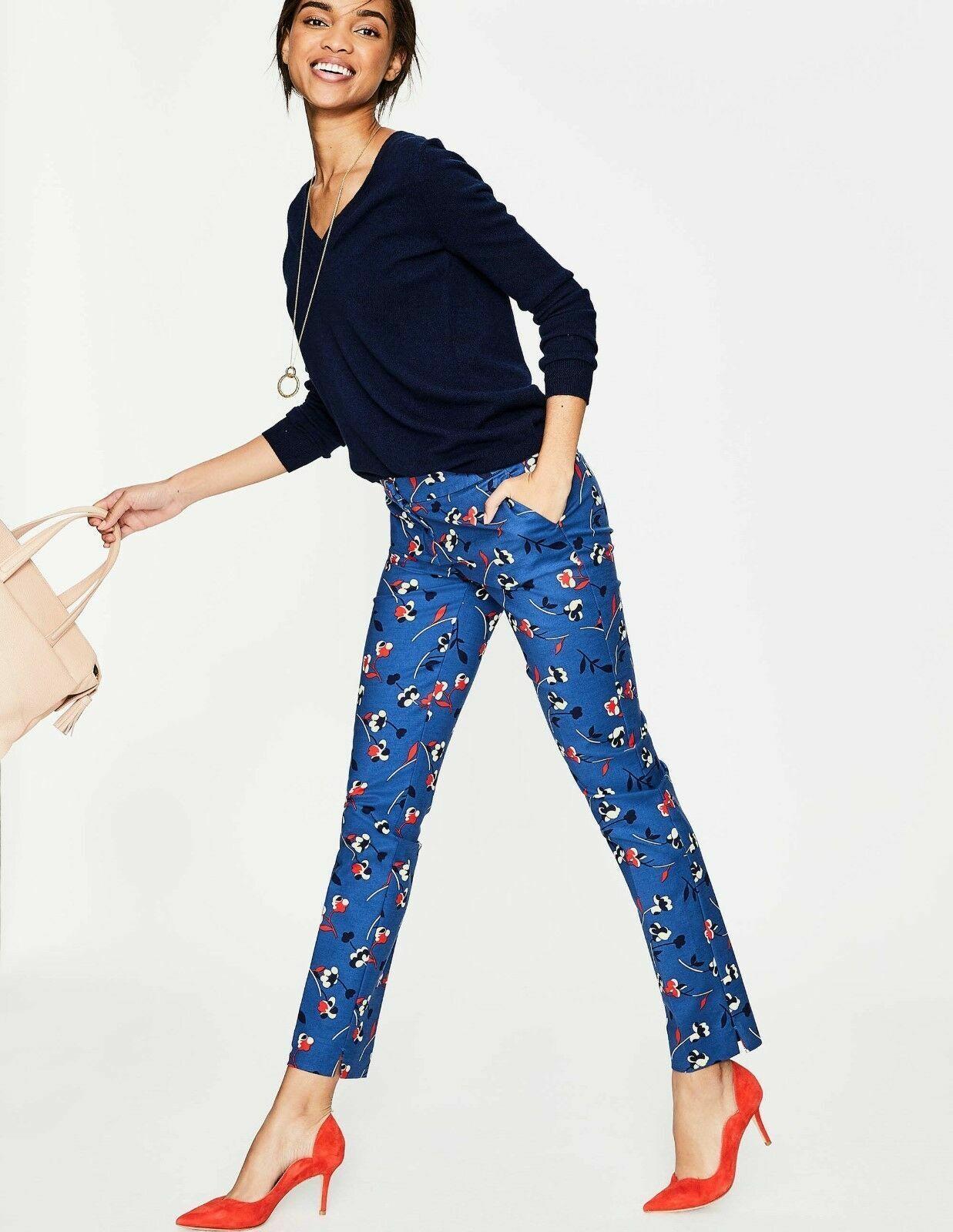 Boden Richmond Trousers Riviera bluee Wildflower Size 12 Regular Bnwt
