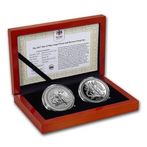 2017 Isle Of Man 2 Coin .999 Silver Angel Proof /& Reverse Proof Set W//Box /& COA