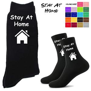 Nouveauté Chaussettes Hommes-Stay At Home Chaussettes-Noir Personnalisé Chaussettes Hommes