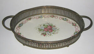 MARIE-ANTOINETTE-CERAMIC-FOOTED-DRESSER-TRAY-Perfume-Vanity-Deco-Oval-Floral