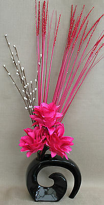 ARTIFICIAL SILK DISPLAY - PINK DRAGON FLOWERS WITH GRASSES IN BLACK FOSSIL VASE