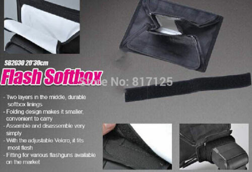 20cm X 30cm Softbox Difusor Flash para Canon Nikon Sony Pentax Reino Unido Vendedor