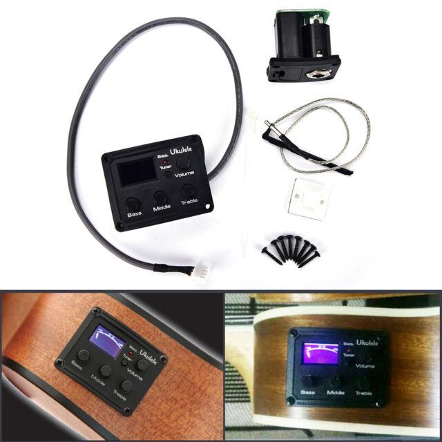 Ukulele Piezo Pickup Preamp 3-Band EQ Equalizer Tuner System LCD Display FL