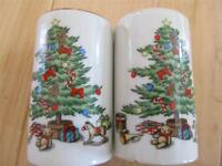 """CHRISTMAS TREE SALT AND PEPPER SHAKERS HOLLY 2 3/4"""" TALL"""