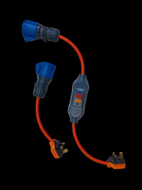 230v 13a Stecker zu 230v 16a Buchse Adapter-mit oder ohne RCD-Wohnwagen Aufschaltung