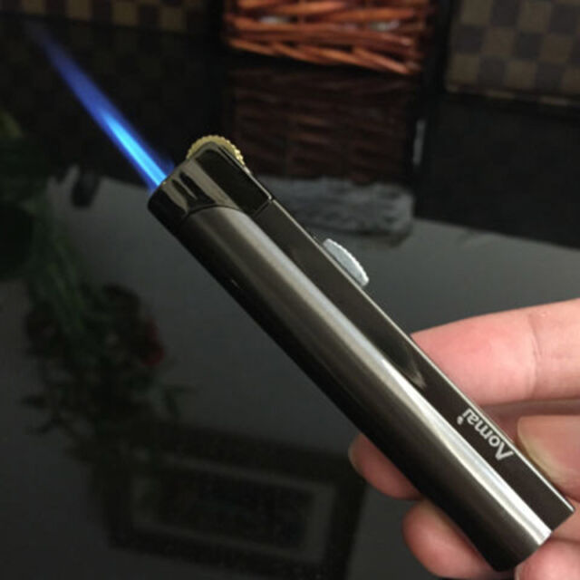 AOMAI Cigarette Cigar Butane Gas Lighter Flint Wheel Windproof Jet Flame Torch