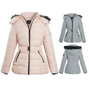 Shelikes Ladies Pink Grey Contrast Zip Belt Quilted Padded Long Winter Coat Size