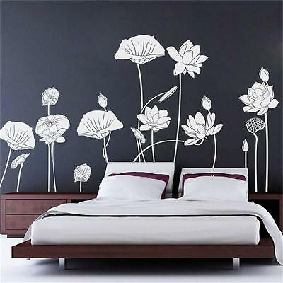 Huge Removable Art Viny Water Lily Lotus Wall Sticker Decal Mural Home  Decor