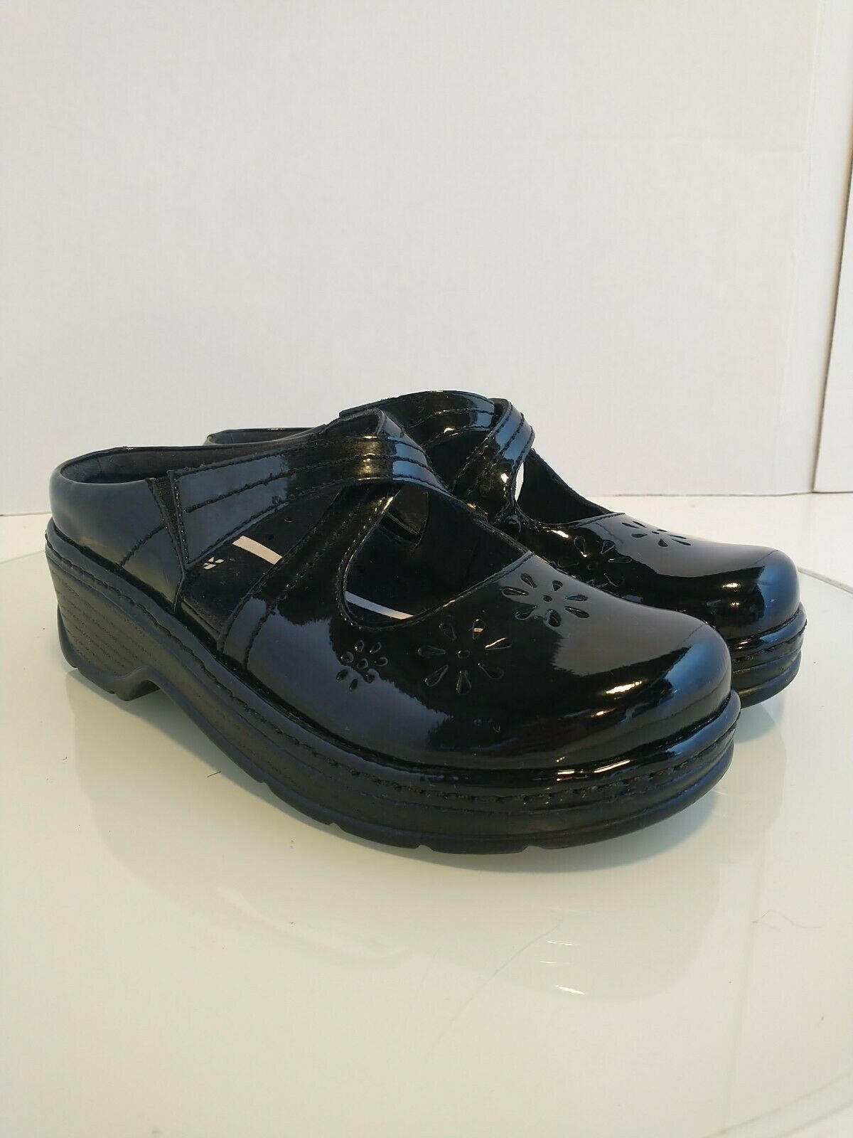 Klogs Mary Jane Black Leather Slip On Mules Clogs Shoes Women's Size 7M EUC!!