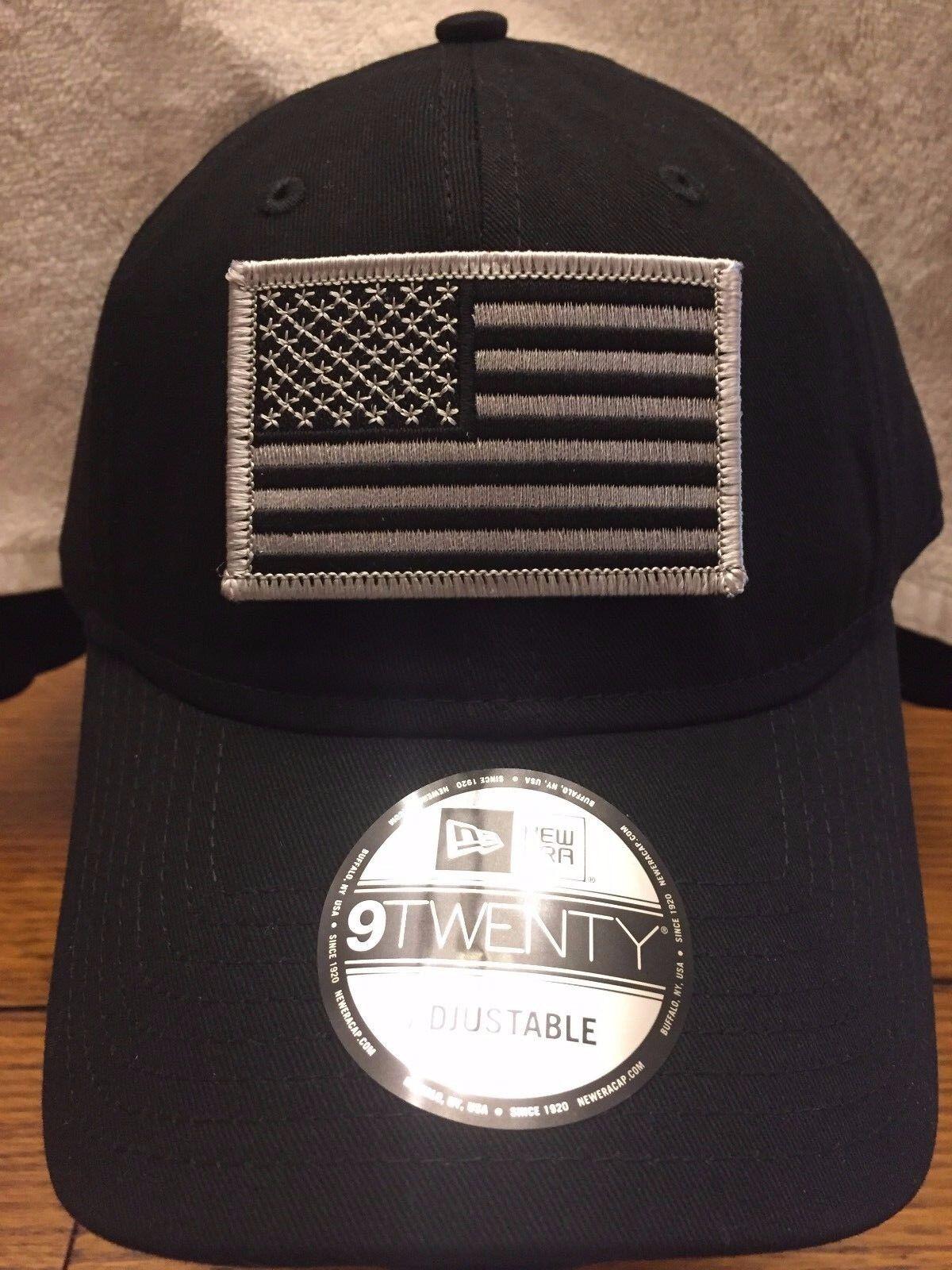 New Era Black NE201 Black Unstructured Cap Dad Hat w/ Black Era Grey American Flag d84468