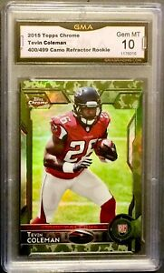 2015-Topps-Chrome-TEVIN-COLEMAN-Camo-Refractor-499-RC-GMA-10-Gem-Mint-PSA-BGS