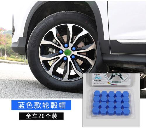 20x Blue Car Wheel Nut Lug Dust Cover Cap Protector Tyre Bolt Hub Screw Cap