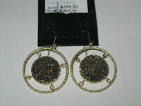 Vicenzagold Round Drusy Quartz Dangle Earrings 14k Gold Qvc Pink Tone $299