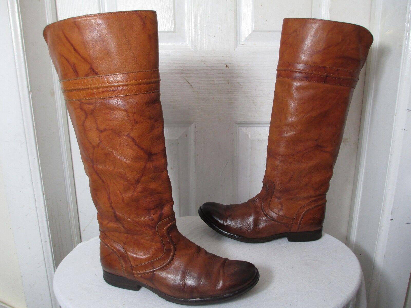 Frye Melissa 76442 trapunto SADLE angustia cuero rodilla alta botas de montar 8 B