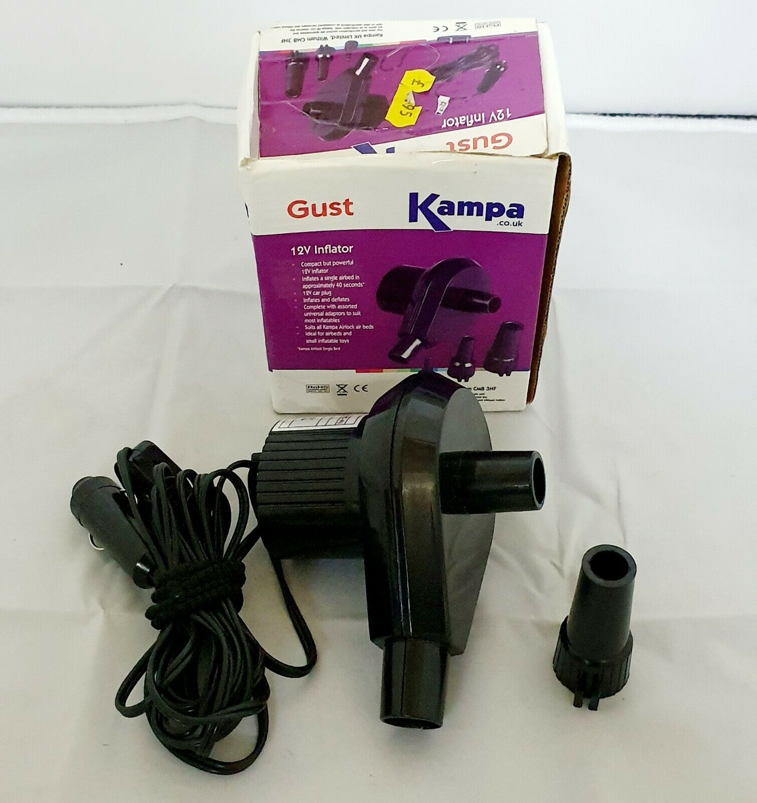 Camping Mattress and Bed inflatable Pump RRP £9.99 New KAMPA Gust 12V Inflator