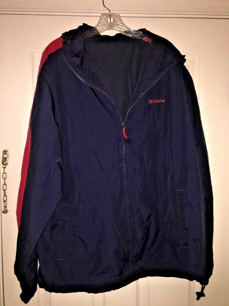 CHAPS Ralph Lauren Windbreaker Men's Navy Red Poly Light Weight Rain Hooded SZ L