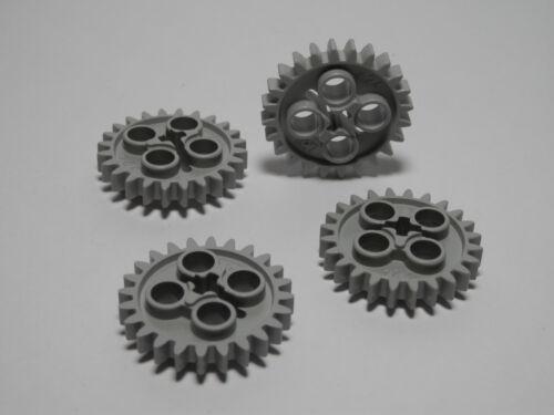 LEGO  NEW 4 Technic Gears 24 Tooth New Style Single Axle Hole LIGHT BLUISH GRAY