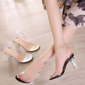 Women-Open-Toe-Platform-Clear-Transparent-Sandals-High-Heel-Casual-Nightclub